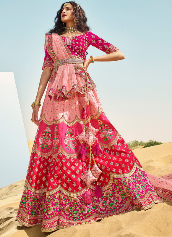 SareeBuzz Rani And Pink Raw Silk Embroidered Work Designer Wedding Lehenga Choli