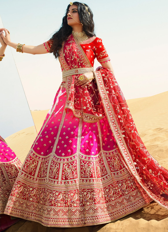 SareeBuzz Red And Rani Satin Wedding Embroidered Work Designer Lehenga Choli