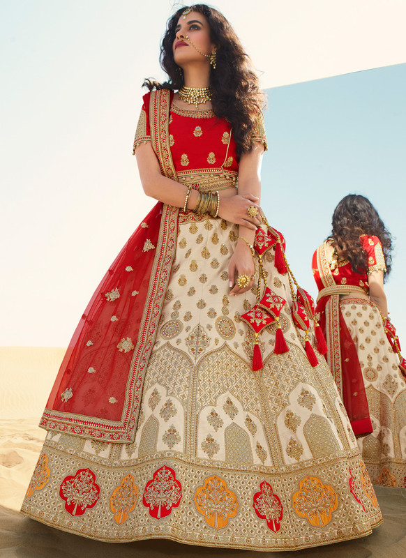 SareeBuzz Beige Embroidered Work Designer Wedding Raw Silk Lehenga Choli
