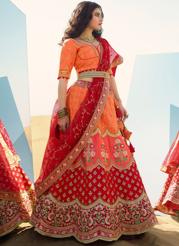SareeBuzz Peach Embroidered Work Designer Wedding Silk Lehenga Choli