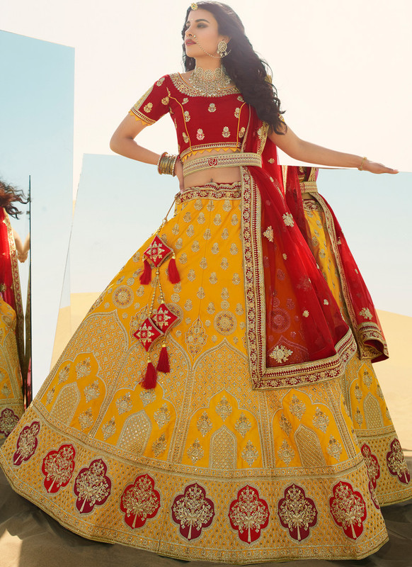 SareeBuzz Yellow Raw Silk Embroidered Work Wedding Designer Lehenga Choli