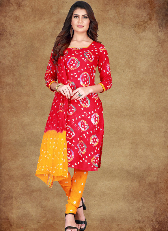 SareeBuzz Maroon Cotton Printed Casual Wear Un-Stitched Dress Material