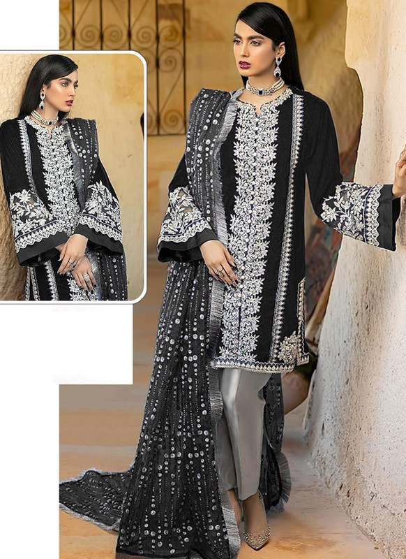 SareeBuzz Black Georgette Sequance Work Designer Pakistani Salwar Suit