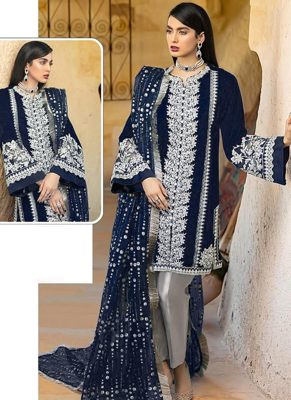 SareeBuzz Navy Blue Georgette Sequance Work Designer Pakistani Salwar Suit