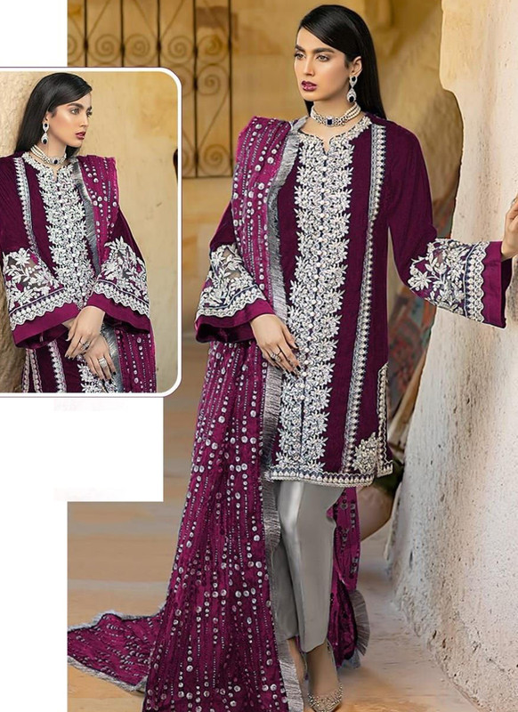SareeBuzz Wine Georgette Sequance Work Designer Pakistani Salwar Suit