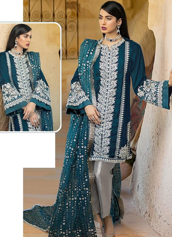 SareeBuzz Aqua Blue Georgette Sequance Work Designer Pakistani Salwar Suit