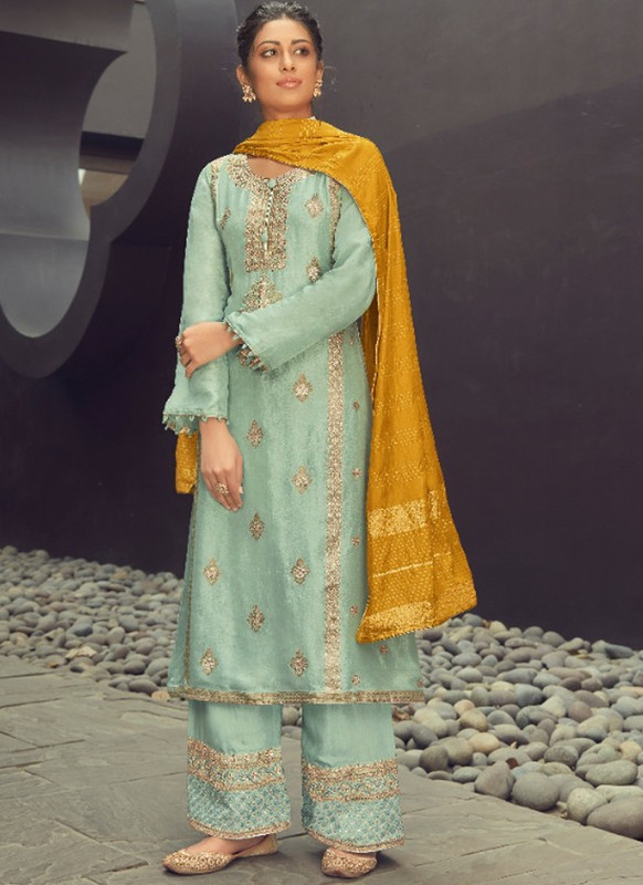 SareeBuzz Sea Green Silk Jacquard Embroidered Work Eid Designer Pakistani Suit
