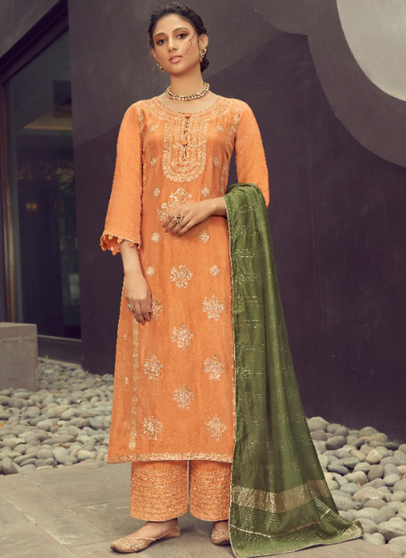SareeBuzz Orange Silk Jacquard Embroidered Work Eid Designer Pakistani Suit