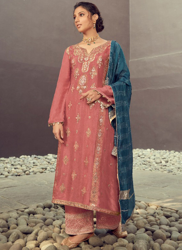 SareeBuzz Wine Silk Jacquard Embroidered Work Eid Designer Pakistani Suit
