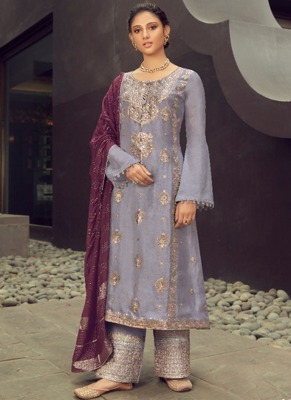 SareeBuzz Grey Silk Jacquard Embroidered Work Eid Designer Pakistani Suit