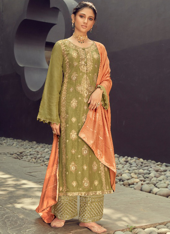 SareeBuzz Green Silk Jacquard Embroidered Work Eid Designer Pakistani Suit