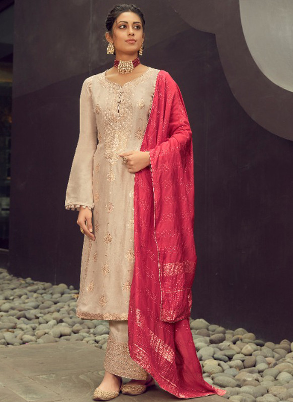 SareeBuzz Cream Silk Jacquard Embroidered Work Eid Designer Pakistani Suit