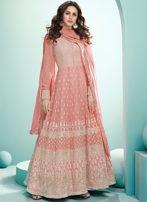 SareeBuzz Pink Georgette Embroidered Work Floor Lengeth Designer Anarkali Suit