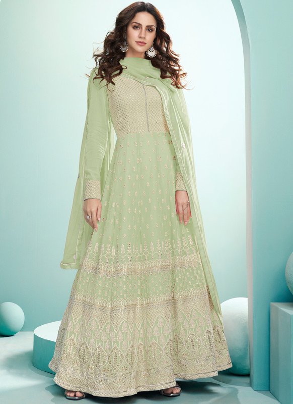 SareeBuzz Green Georgette Embroidered Work Designer Floor Length Anarkali Suit