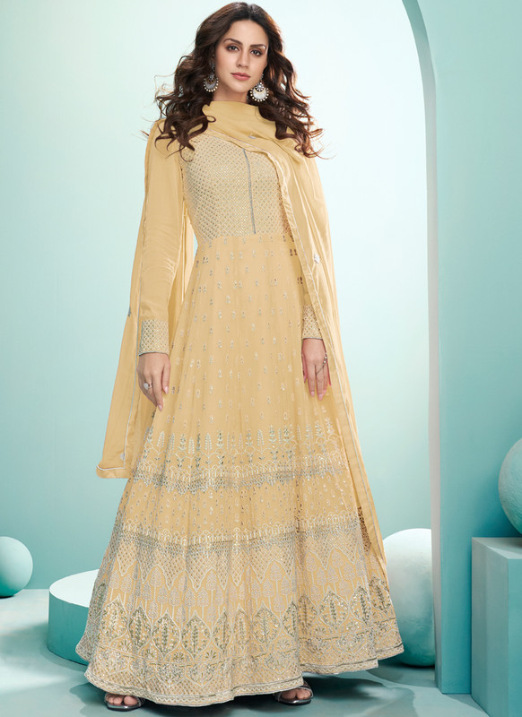 SareeBuzz Yellow Georgette Embroidered Work Designer Floor Lengeth Anarkali Suit