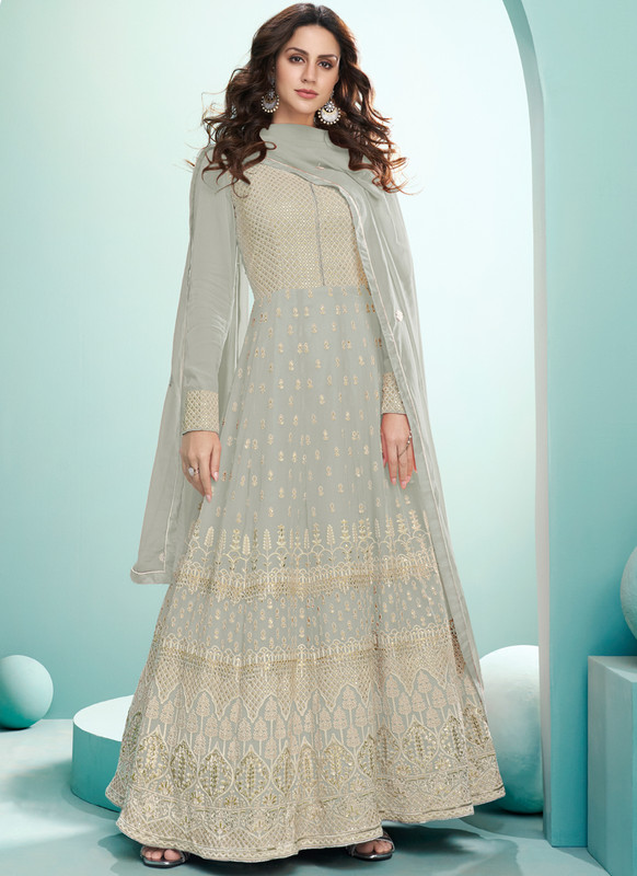 SareeBuzz Grey Georgette Embroidered Work Designer Floor Length Anarkali Suit