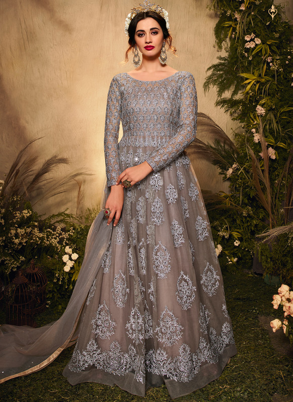 SareeBuzz Grey Embroidered Work Designer Reception Net Anarkali Suit