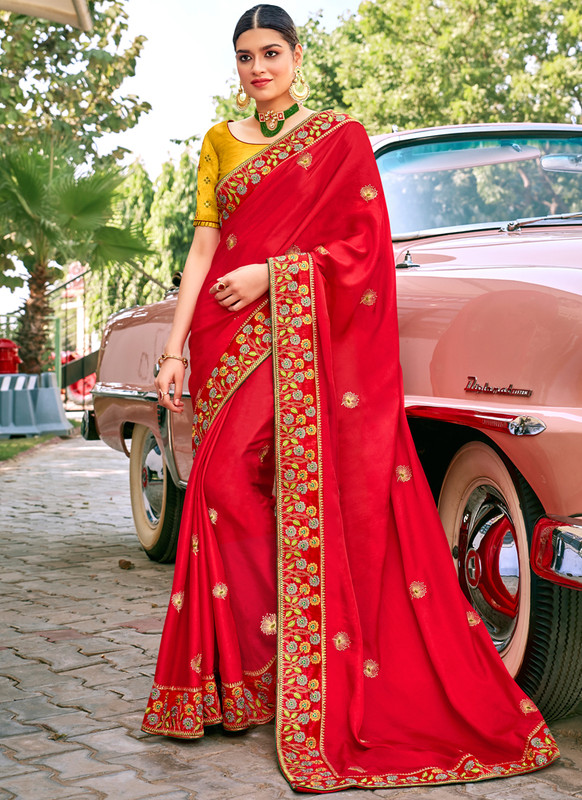 SareeBuzz Red Georgette Embroidered Work Designer Saree