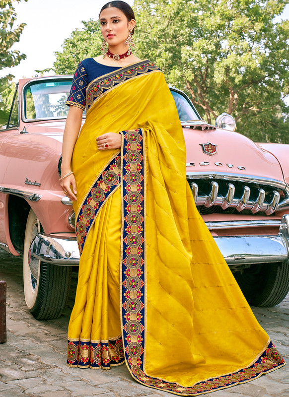 SareeBuzz Yellow Georgette Embroidered Work Border Designer Saree