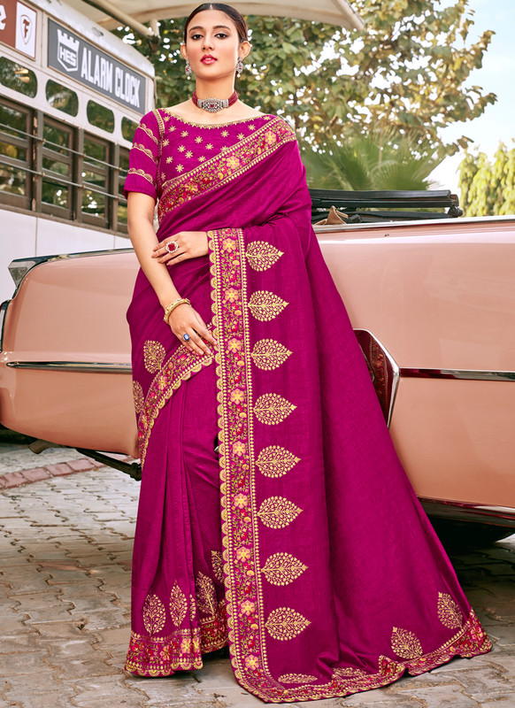 SareeBuzz Magenta Georgette Embroidered Work Designer Saree