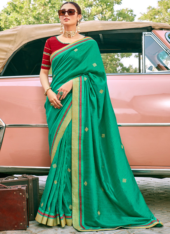 SareeBuzz Green Georgette Embroidered Work Designer Saree