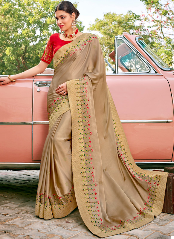 SareeBuzz Gold Georgette Embroidered Work Designer Saree