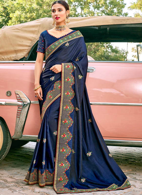 SareeBuzz Blue Georgette Embroidered Work Designer Saree