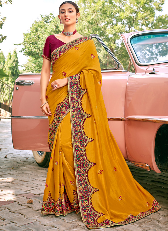 SareeBuzz Mustard Georgette Embroidered Work Designer Saree