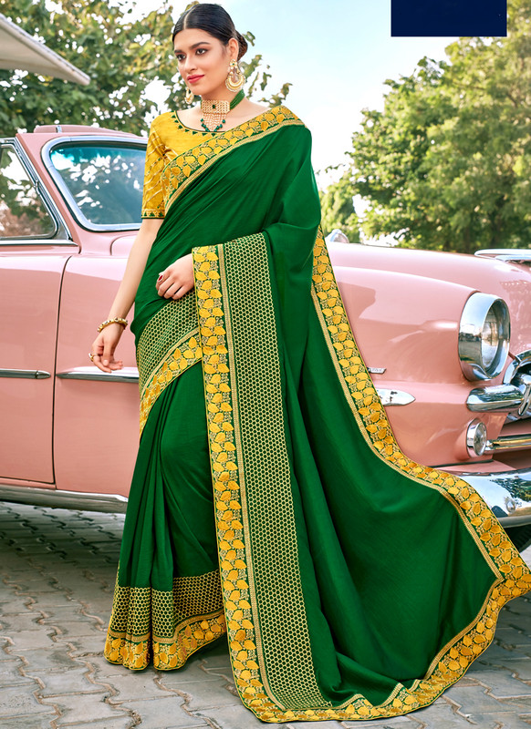 SareeBuzz Green Georgette Patch Border Designer Saree