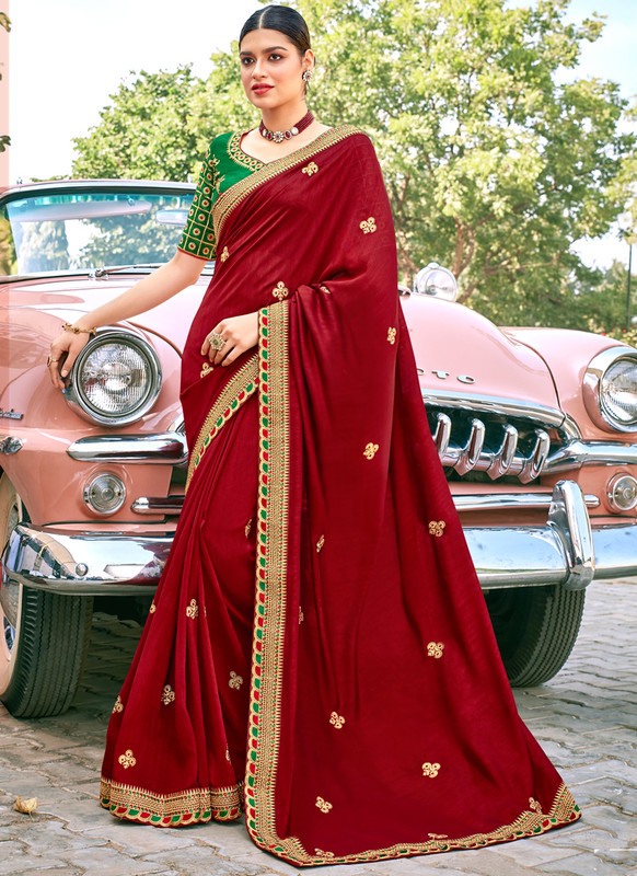 SareeBuzz Maroon Georgette Embroidered Work Designer Saree