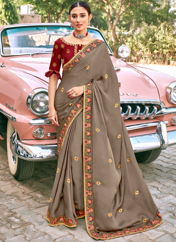 SareeBuzz Grey Georgette Embroidered Work Designer Saree