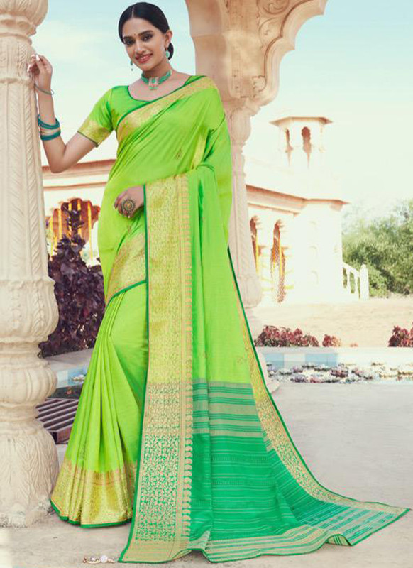 SareeBuzz Green Jacquard Designer Zari Weaving Party Wear Saree
