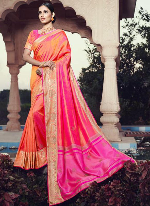 SareeBuzz Pink Jacquard Party Wear Swarovski Work Designer Saree