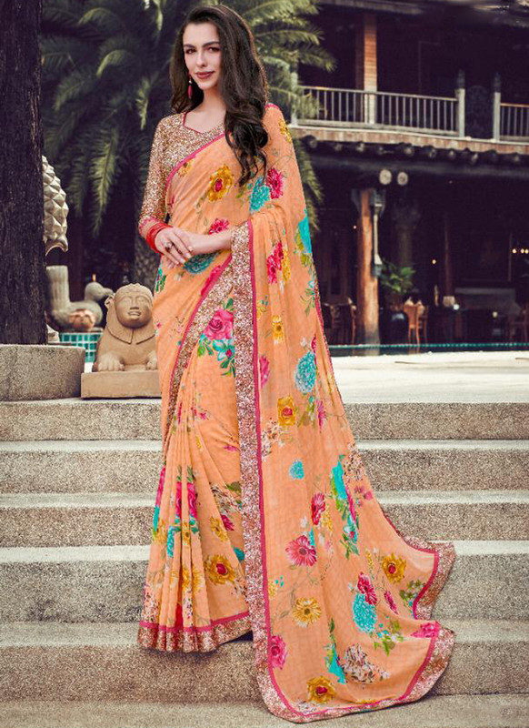 SareeBuzz Peach Georgette Printed Casual Wear Saree