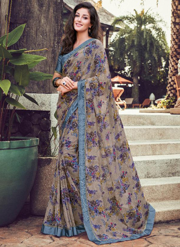 SareeBuzz Grey Georgette Printed Casual Wear Saree