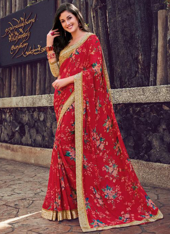 SareeBuzz Maroon Georgette Printed Casual Wear Saree