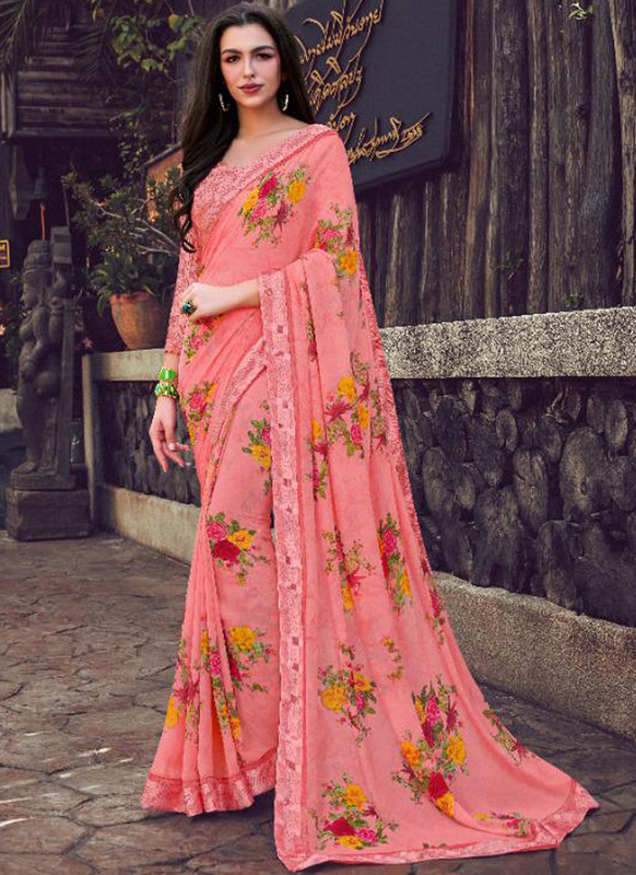 SareeBuzz Pink Georgette Printed Casual Wear Saree