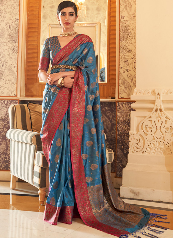 SareeBuzz Blue Handloom Silk Thread Work Designer Traditional Saree
