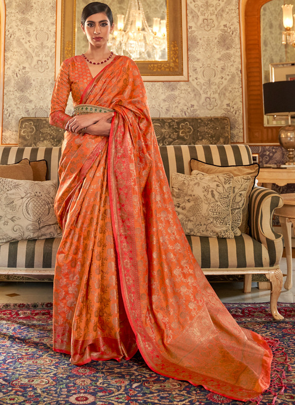 SareeBuzz Orange Handloom Silk Zari Weaving Designer Traditional Saree