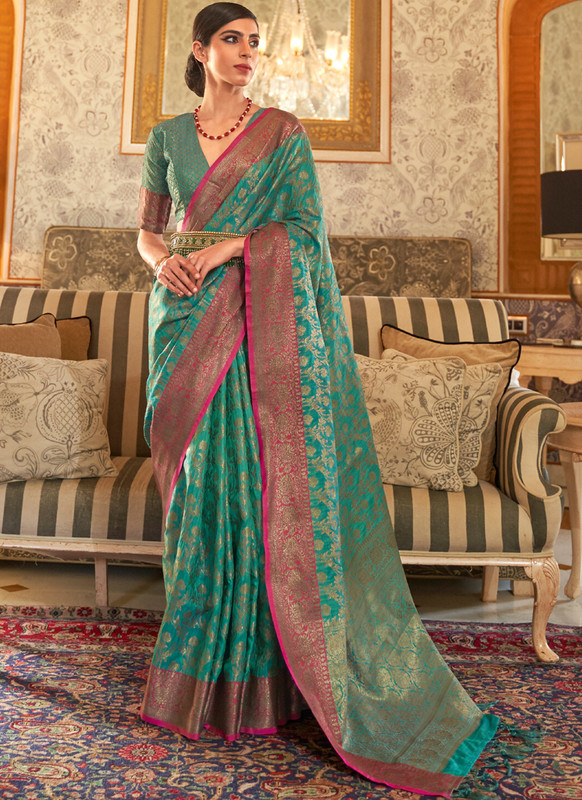 SareeBuzz Sea Green Handloom Silk Designer Zari Weaving Traditional Saree