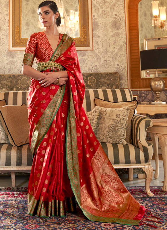 SareeBuzz Red Designer Zari Weaving Handloom Silk Traditional Saree