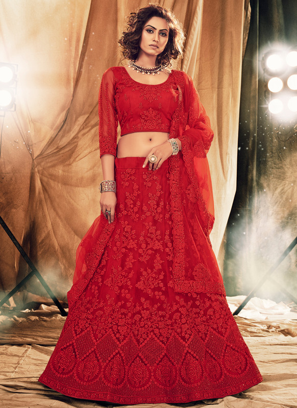 SareeBuzz Red Net Designer Embroidered Work Bridal Lehenga Choli