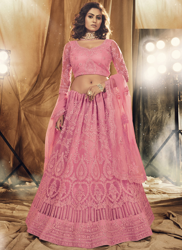 SareeBuzz Pink Net Designer Embroidered Work Bridal Lehenga Choli