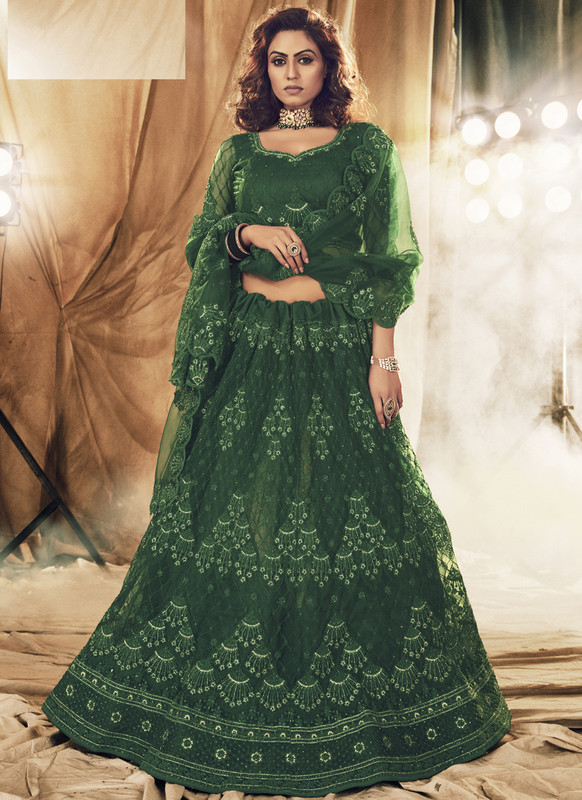 SareeBuzz Green Net Designer Embroidered Work Bridal Lehenga Choli