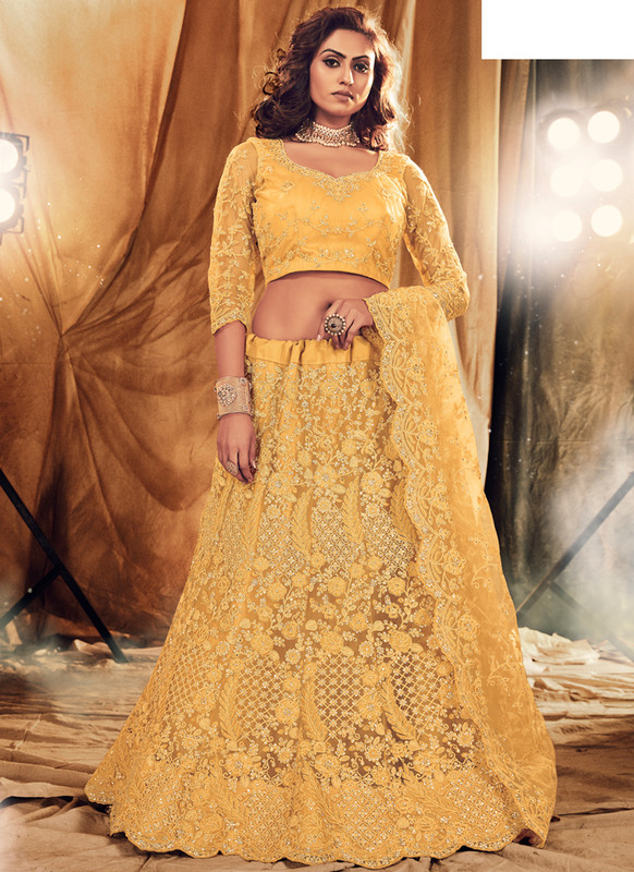 SareeBuzz Yellow Net Designer Embroidered Work Bridal Lehenga Choli