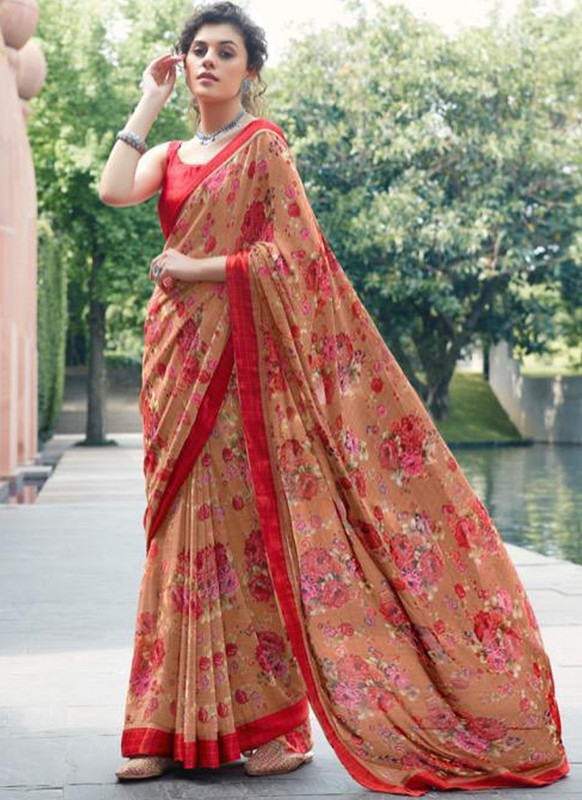 SareeBuzz Rust Georgette Printed Casual Saree