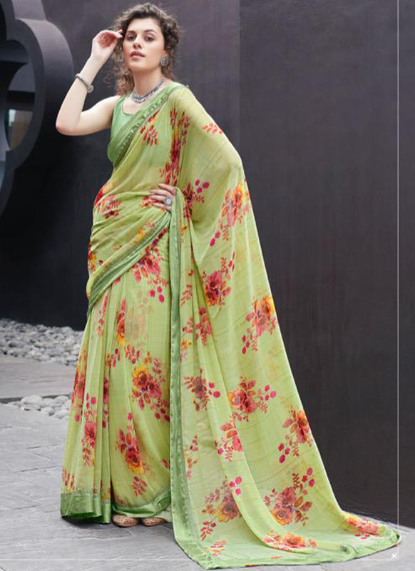 SareeBuzz Green Georgette Casual Printed Saree