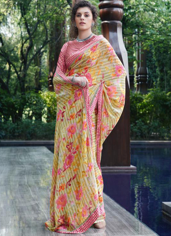 SareeBuzz Mustard Georgette Casual Printed Saree