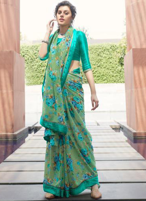 SareeBuzz Sea Green Georgette Casual Printed Saree