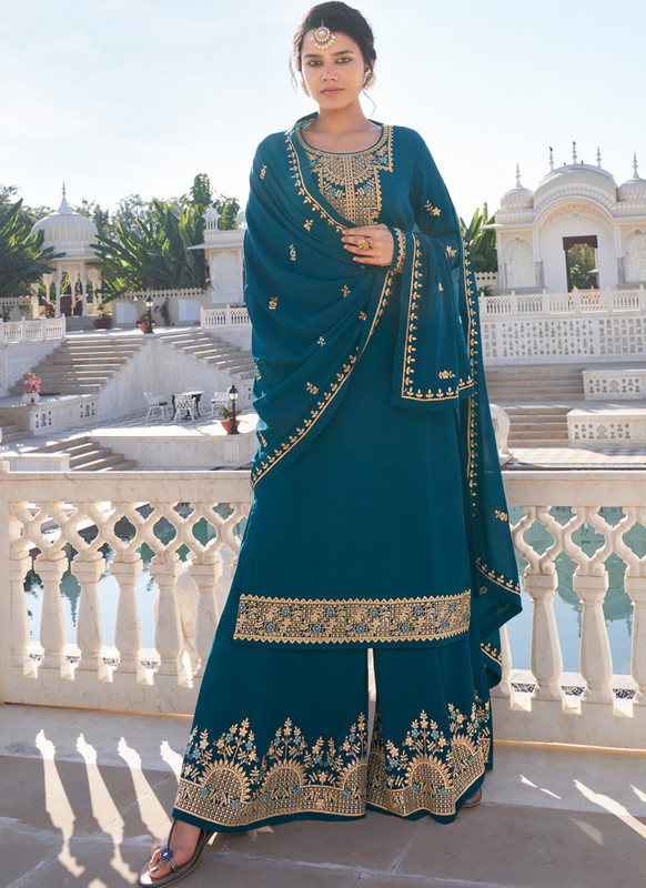 SareeBuzz Teal Blue Georgette Embroidered Work Designer Palazzo Suit